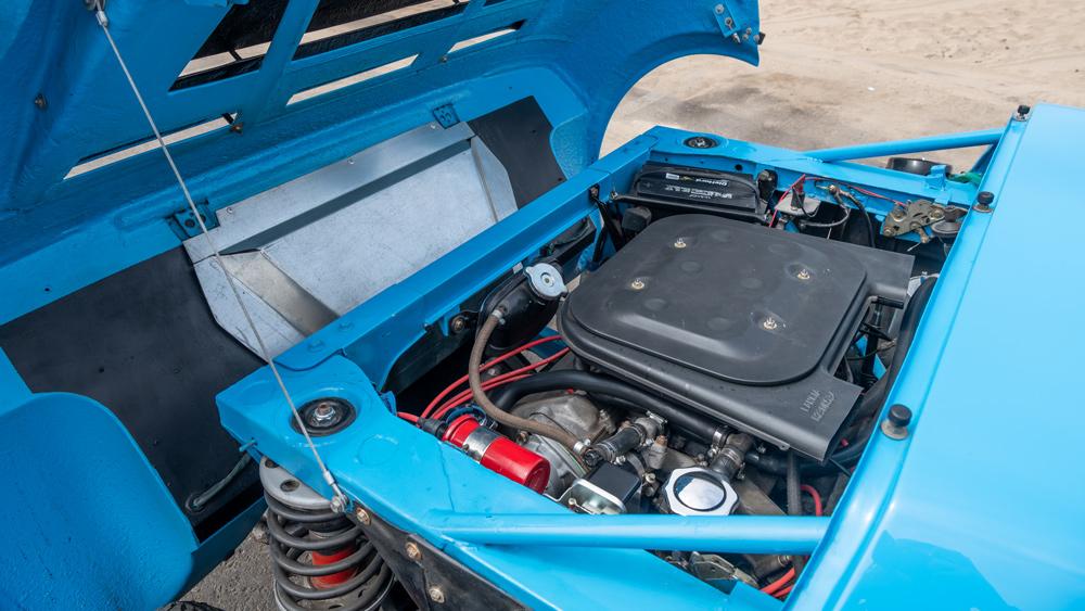 The engine inside a 1975 Lancia Stratos HF Stradale rally car.