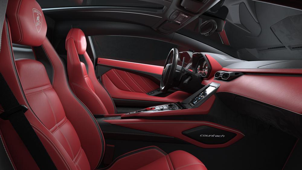 Inside the Lamborghini Countach LPI 800-4 supercar.