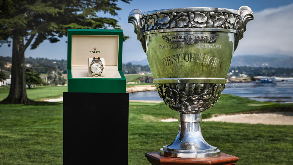 The trophy and Rolex watch given for Best of Show at the 70th Pebble Beach Concours d'Elegance.
