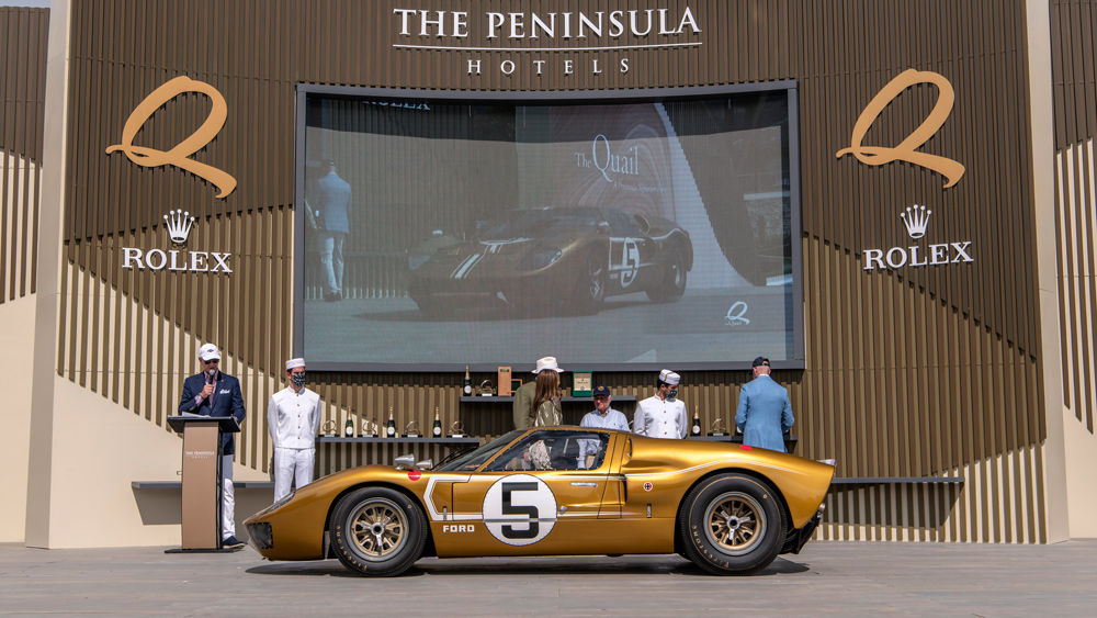 The 1966 Ford GT40 Mark II that won the Post-War Racing Cars class at the Quail, a Motorsports Gathering in 2021.