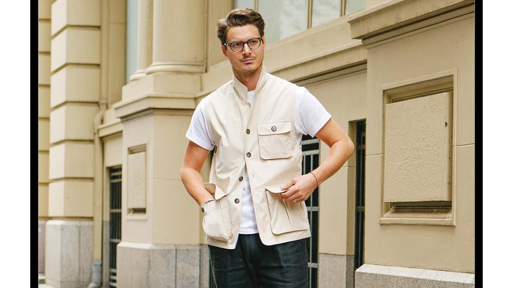 Informale designer Steve Calder wears his utility vest.