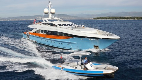 Aurelia is a superyacht with the same blue and orange colors of its owner's race car