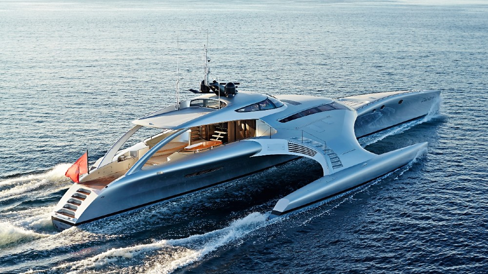 Adastra is a 140-foot trimaran designed to travel the world.