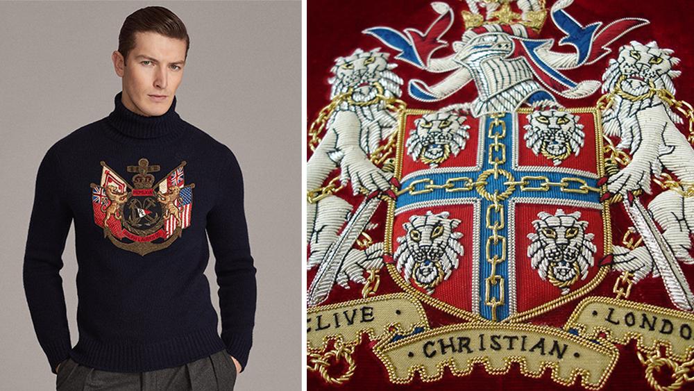A regal Ralph Lauren sweater ($995) and details of Hand & Lock's handiwork.