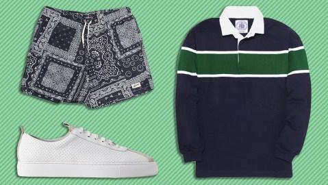 Bather swim trunks, J. Press rugby shirt, Grenson sneakers