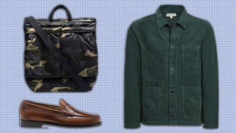 Porter-Yoshida bag, Alex Mill jacket, G.H. Bass loafers