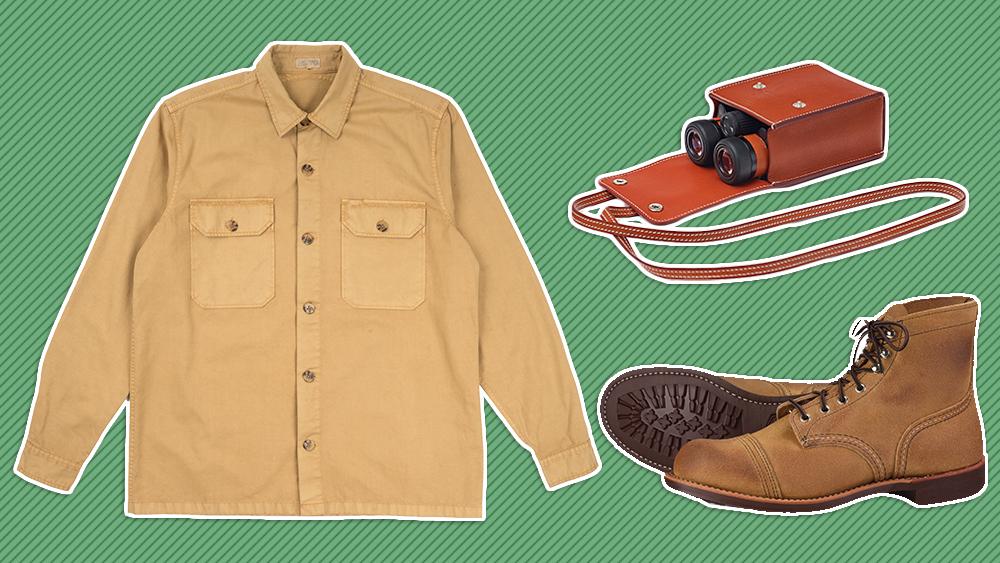Quaker Marine shirt, Hermès binoculars, Red Wing boots