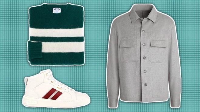 J. Press sweater, Zegna overshirt, Bally sneakers