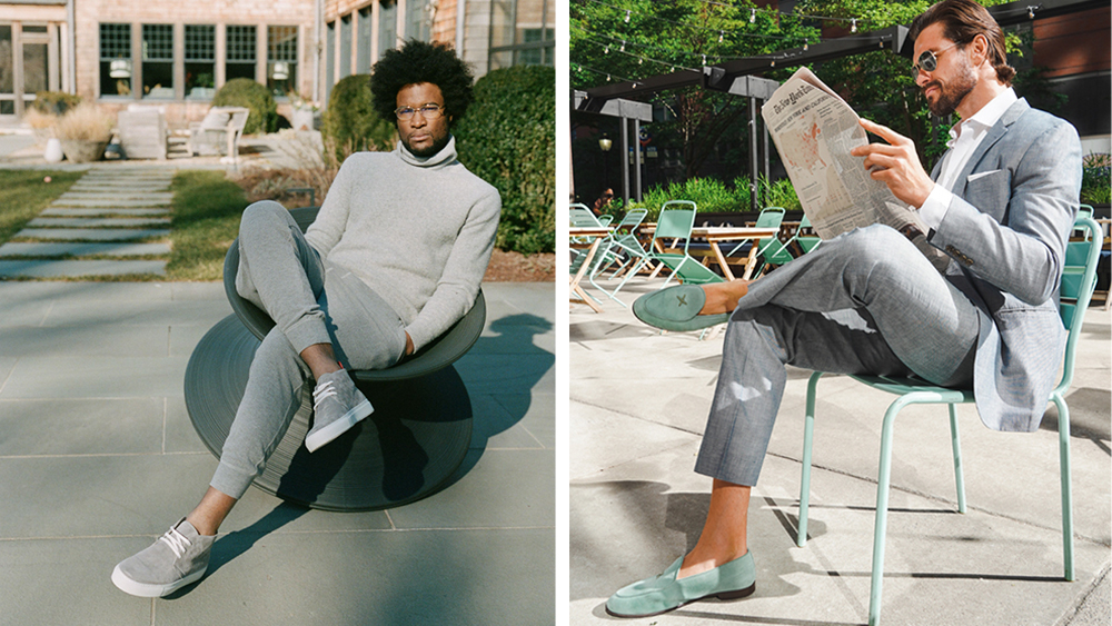 Models wear Del Toro's chukka sneakers and Milano loafers.