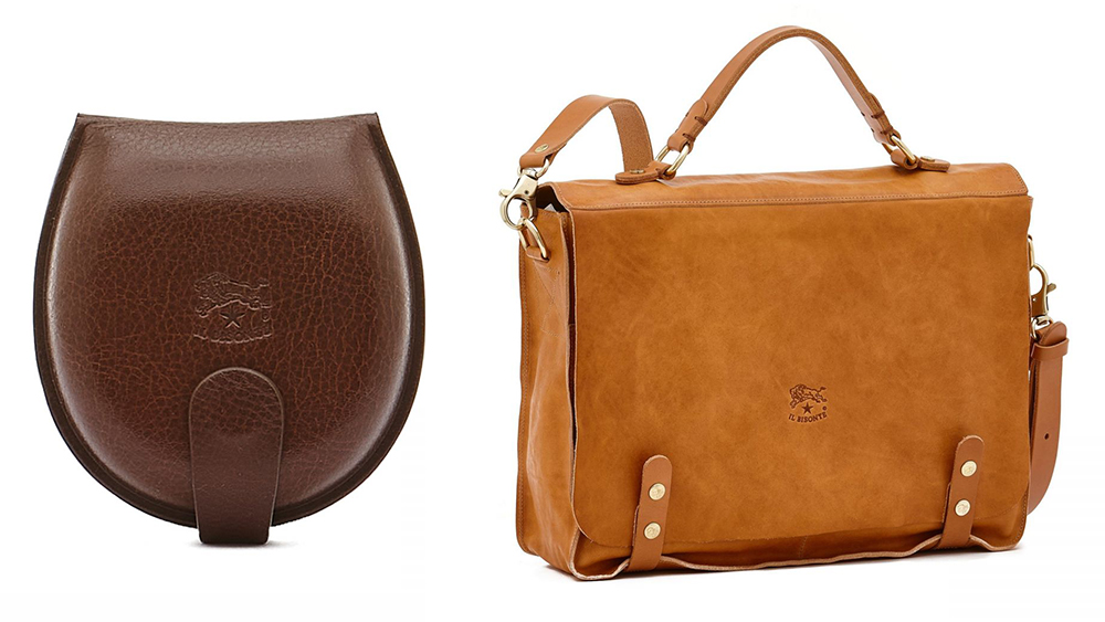 Il Bisonte molded leather coin purse ($85) and vintage cowhide briefcase ($820).