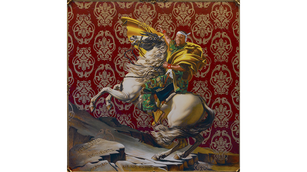 Kehinde Wiley (American, born 1977). Napoleon Leading the Army over the Alps, 2005. Oil on canvas, 108 x 108 in. (274.3 x 274.3 cm). Brooklyn Museum, Partial gift of Suzi and Andrew Booke Cohen in memory of Ilene R. Booke and in honor of Arnold L. Lehman, Mary Smith Dorward Fund, and William K. Jacobs, Jr. Fund , 2015.53. © artist or artist's estate (Photo: Brooklyn Museum, 2015.53_framed_PS2.jpg)