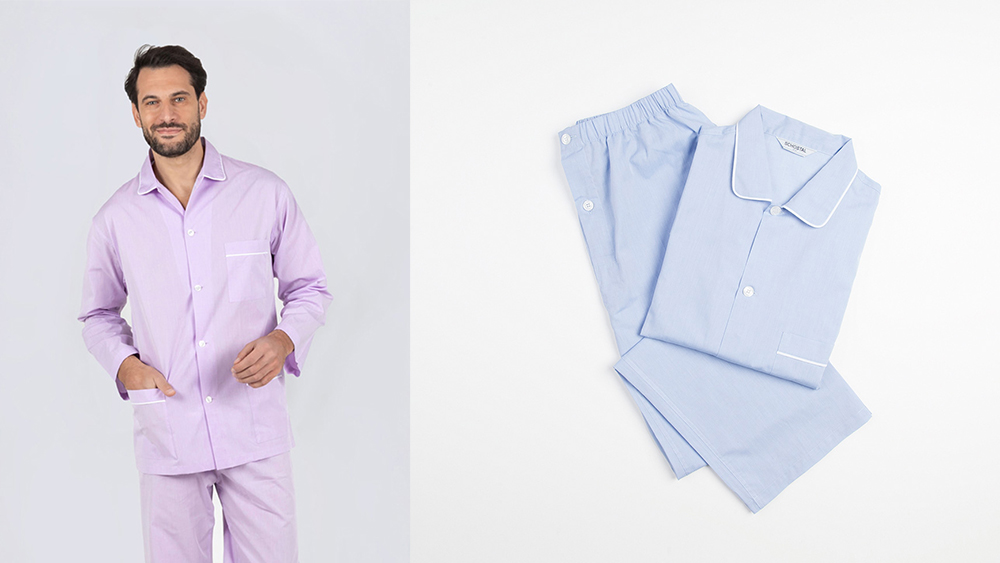 Schostal's zephyr cotton pajamas in lilac and sky blue.