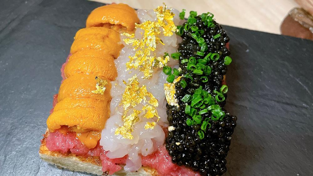 shuko uni caviar wagyu milk bread