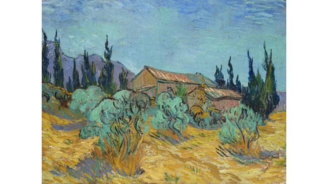 Van Gogh, Cabanes de bois parmi les oliviers et cyprès, 1889.