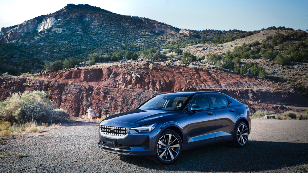 The 2022 Polestar 2 electric vehicle in New Mexico.