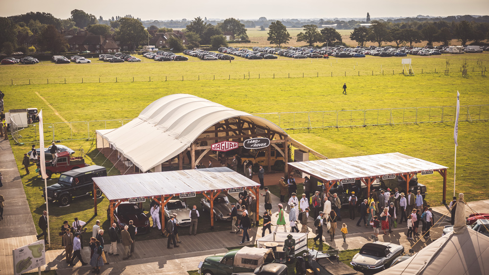 The Jaguar Land Rover tent at the 2021 Goodwood Revival.