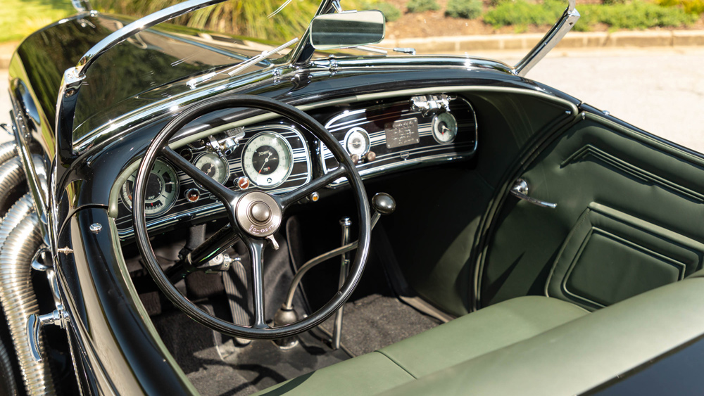 The interior of a 1935 Auburn 851 Supercharged Speedster.
