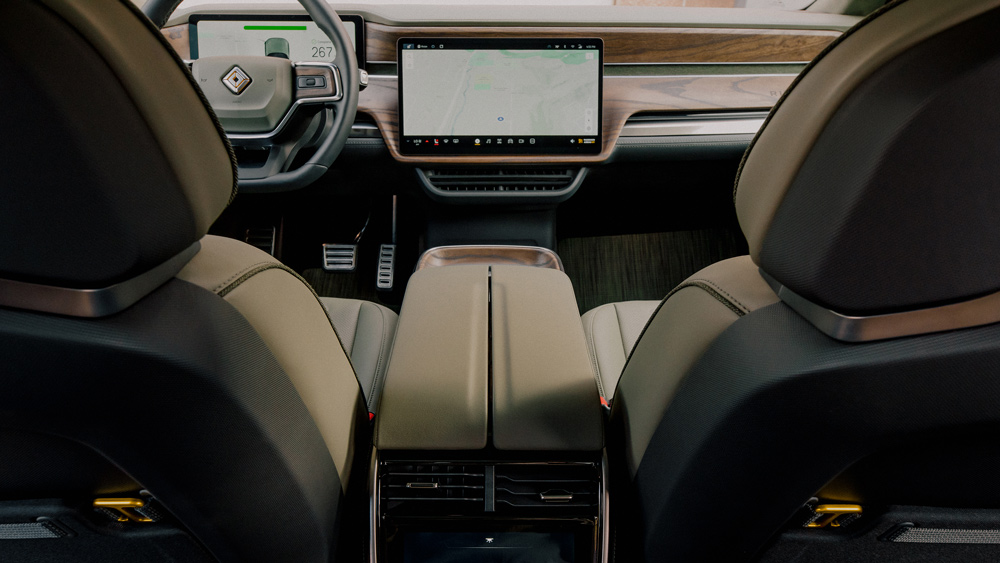 The interior of the Rivian R1T electric truck.