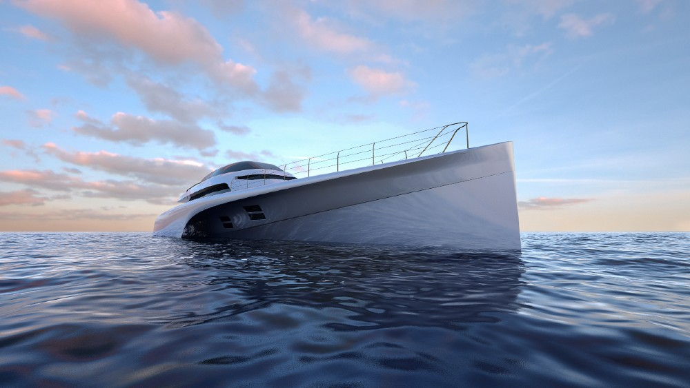 MC155 is a luxury 153-foot trimaran that can cross the Atlantic on a single tank of fuel