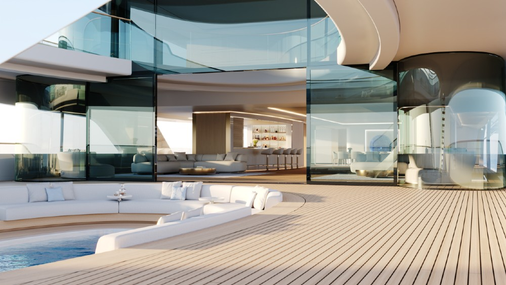 Pure is a 268-foot superyacht concept with a hidden, submarine helm station and three-deck glass atrium