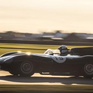 A classic Jaguar D-type competes at the 2021 Goodwood Revival.