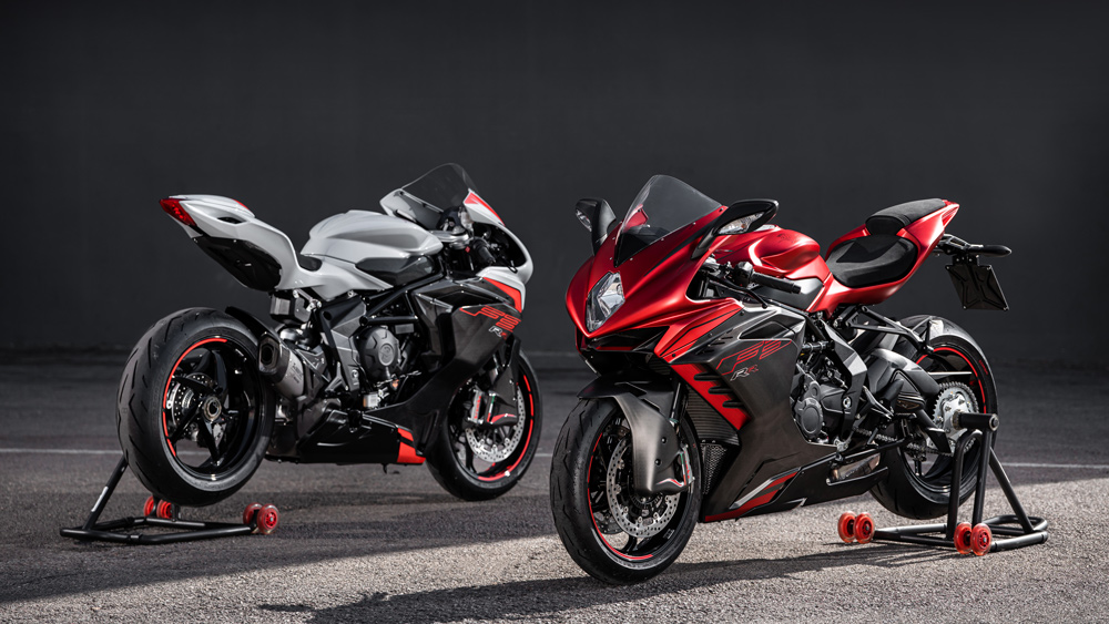 The 2022 MV Agusta F3 RR motorcycle and the bike with the optional Racing Kit option (left).