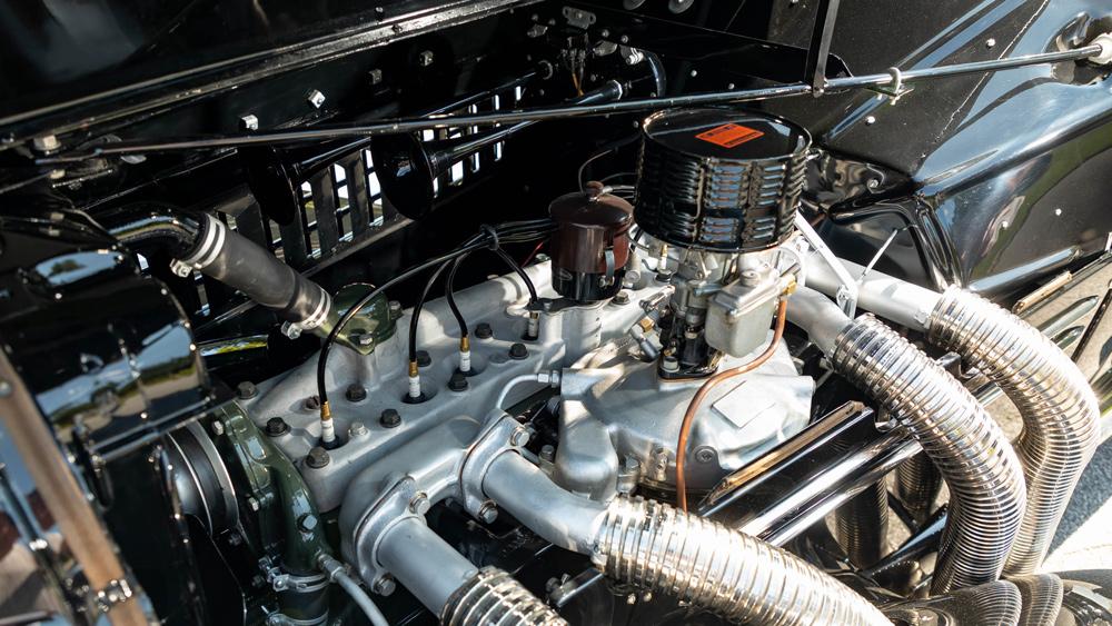 The 150 hp, 4.5-liter straight-eight engine inside a 1935 Auburn 851 Supercharged Speedster.