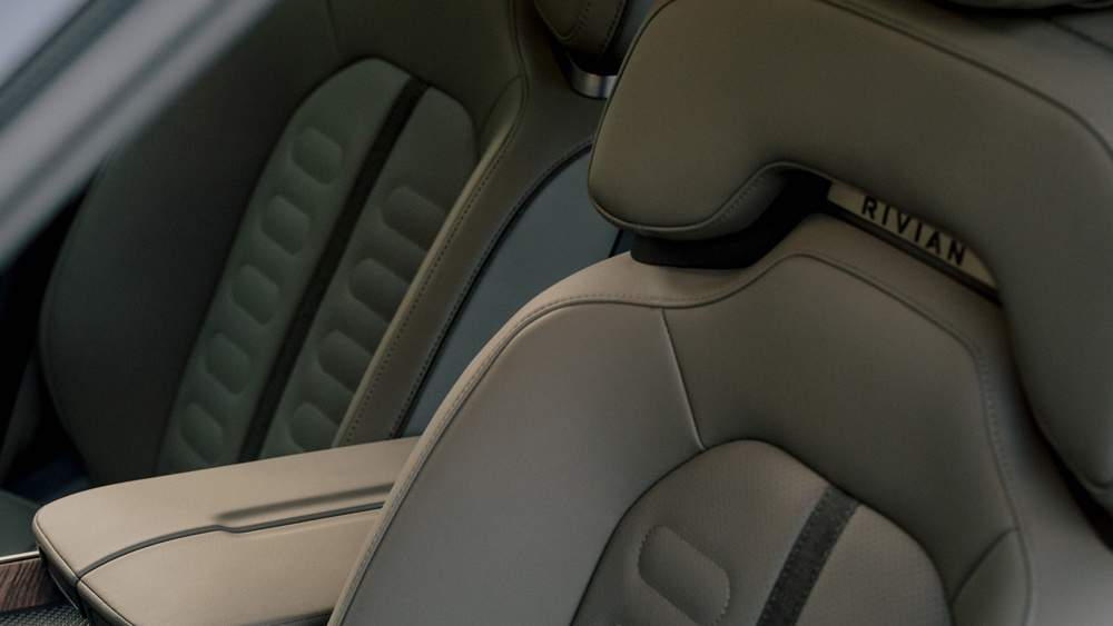 A detail of the Rivian R1T electric truck's interior.