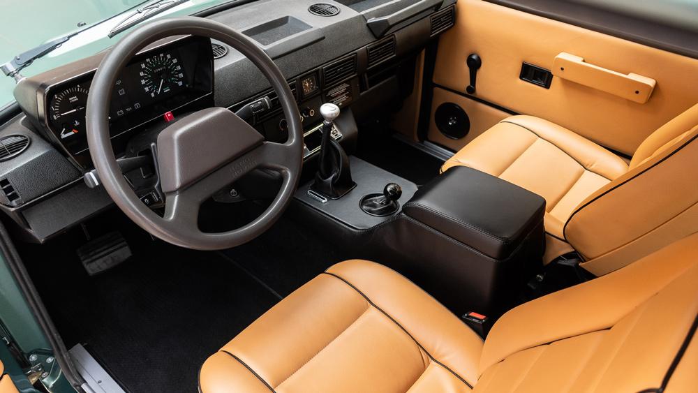 The interior of a 1991 Range Rover Classic restomod.