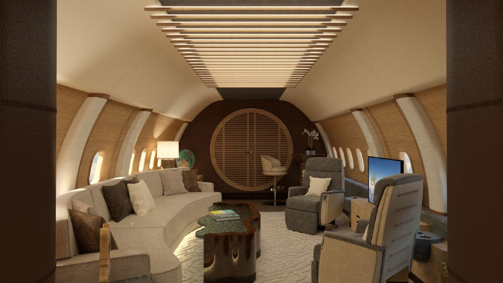 Mark Berryman's interior concept of a Boeing Business Jet is more like a yacht