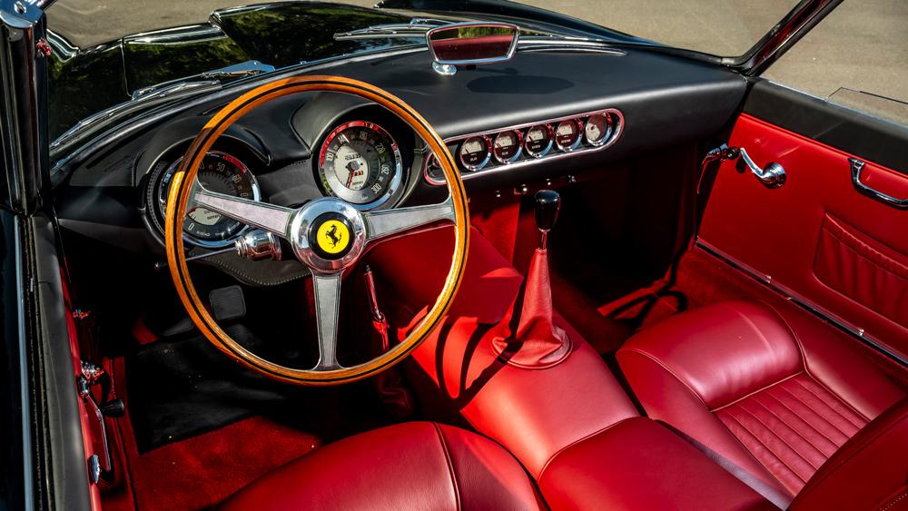 The interior of GTO Engineering's replica of the Ferrari 250 GT SWB California Spyder.