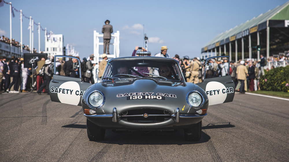 A Jaguar E-type is used as the safety car during the races at the 2021 Goodwood Revival.