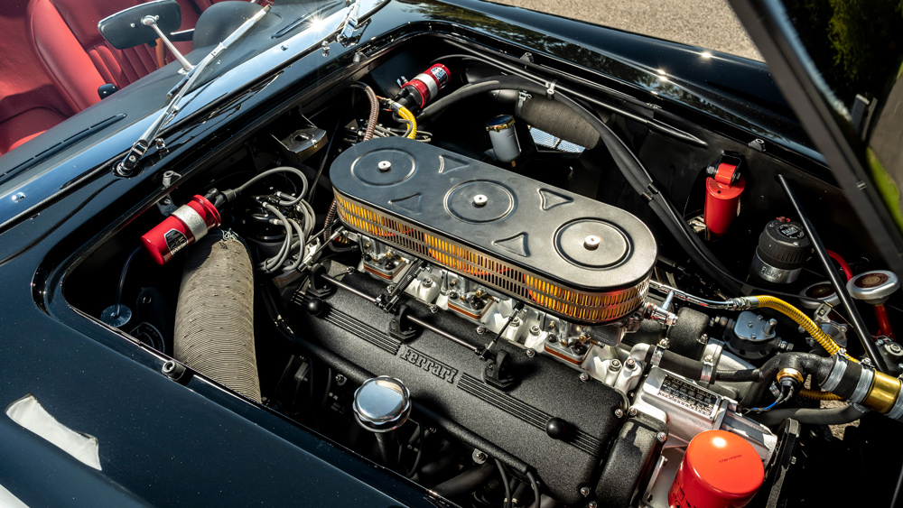 The engine inside GTO Engineering's replica of the Ferrari 250 GT SWB California Spyder.