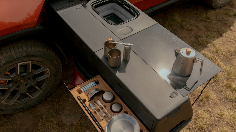 The camp-kitchen set that is offered with the Rivian R1T electric truck.
