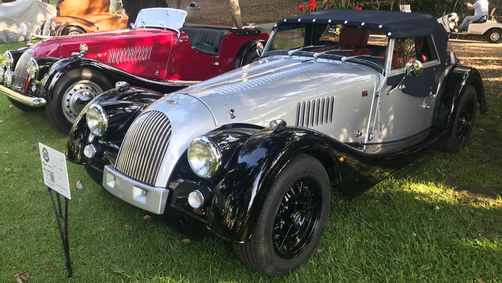 A 2019 Morgan Plus 4 on a concours lawn.