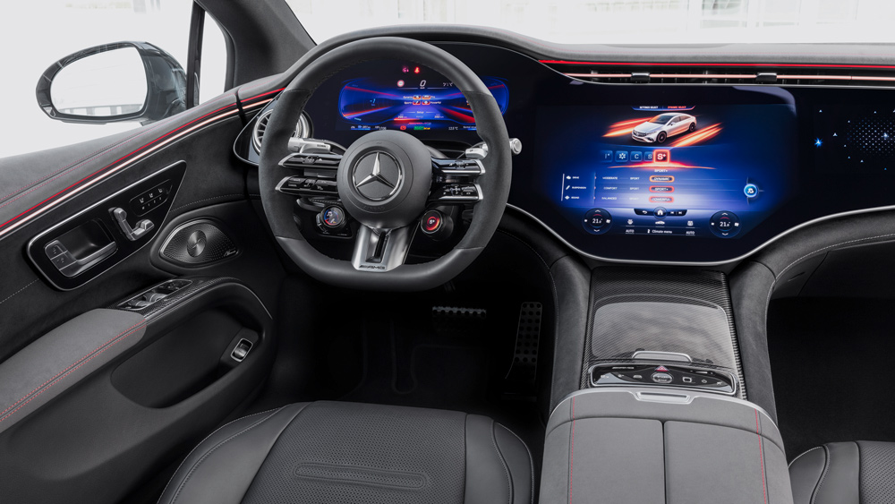 The interior of the Mercedes-AMG EQS.