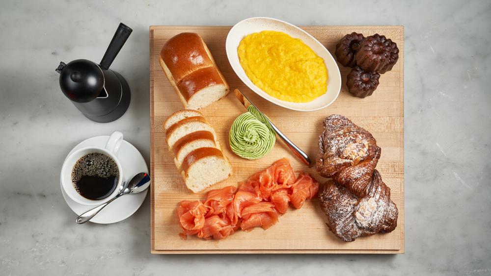 brioce, chive butter, croissants canele