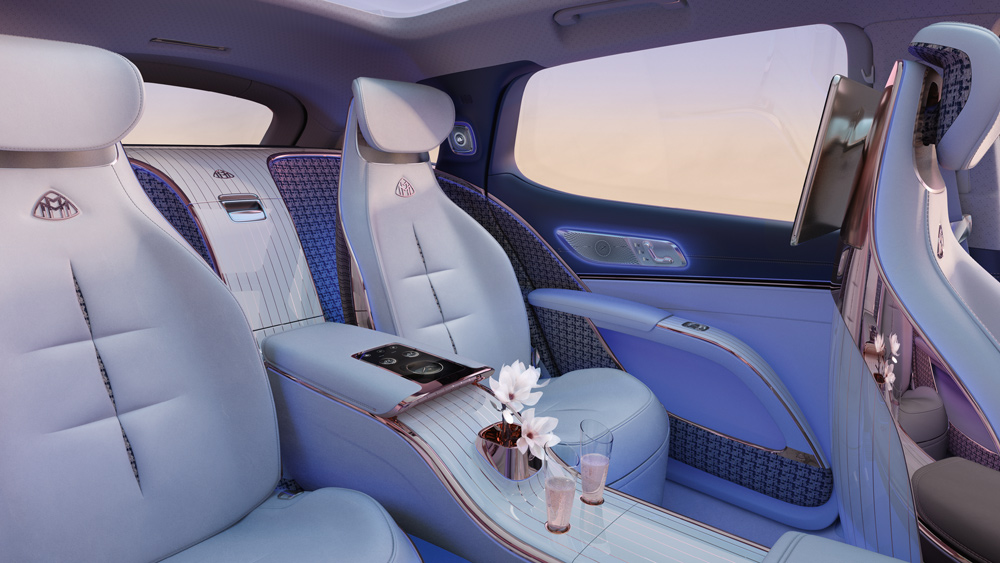 The interior of the Concept Mercedes-Maybach EQS.
