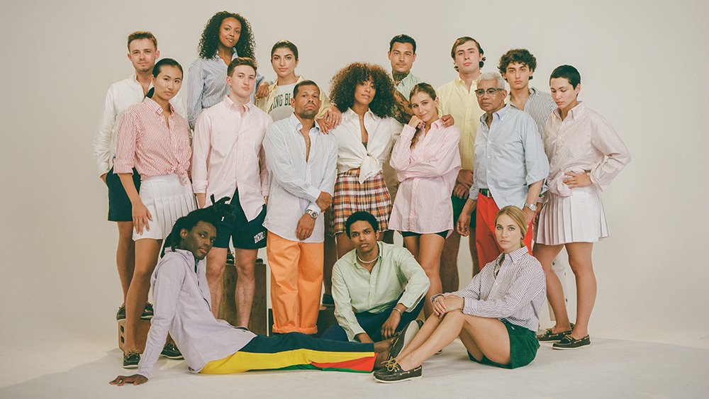 Models in an array of Rowing Blazers' made-to-order OCBDs.