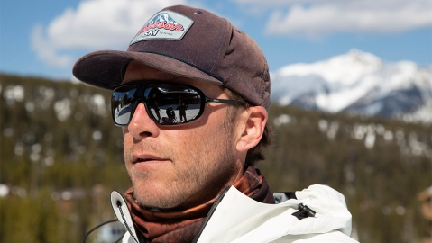 Bode Miller wears a pair of sunglasses from his collaboration with Revo.