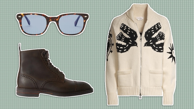 Thom Sweeney x Moscot sunglasses, Alexander McQueen sweater, Cleverley boots