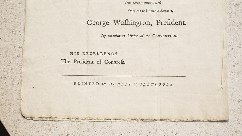 A closeup of the Goldman Constitution