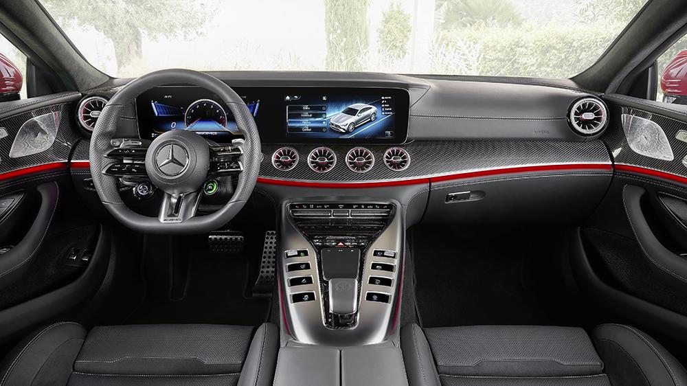 """Mercedes-AMG GT 63 S E PERFORMANCE (4MATIC+) (Kraftstoffverbrauch gewichtet, kombiniert (WLTP): 8,6 l/100 km; CO2-Emissionen gewichtet, kombiniert: 196 g/km; Stromverbrauch gewichtet: 10,3 kWh/100 km); Exterieur: jupiterrot, AMG Carbon-Paket Exterieur, 53,3 cm (21"""") AMG Schmiederäder im 5-Doppelspeichen-Design, AMG Keramik Hochleistungs-Verbundbremsanlage; Interieur: Leder Exklusiv Nappa schwarz, Performance Lenkrad in Leder Nappa mit Lenkradtasten, AMG Performance Sitze, AMG Zierlemente Carbon;Kraftstoffverbrauch gewichtet, kombiniert (WLTP): 8,6 l/100 km; CO2-Emissionen gewichtet, kombiniert: 196 g/km; Stromverbrauch gewichtet: 10,3 kWh/100 km*Mercedes-AMG GT 63 S E PERFORMANCE (4MATIC+) (weighted, combined fuel consumption (WLTP): 8.6 l/100 km; weighted, combined CO2 emissions: 196 g/km; weighted electrical consumption: 10.3 kWh/100 km); exterior: jupiter red, AMG Exterior Carbon package, 53.3 cm (21-inch) AMG 5-twin-spoke forged wheels, AMG high-performance ceramic composite braking system; interior: exclusive leather nappa black , steering wheel in nappa leather black with steering wheel buttons, AMG performance seats, AMG carbon-fibre trim;Weighted, combined fuel consumption (WLTP): 8.6 l/100 km; weighted, combined CO2 emissions: 196 g/km; weighted electrical consumption: 10.3 kWh/100 km*"""