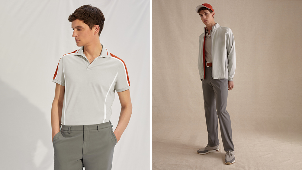 """A model wears pieces from the Loro Piana """"28 Matches"""" collection of golf wear."""