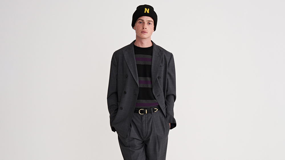 A double-breasted suit from Noah's new DIY suiting collection.