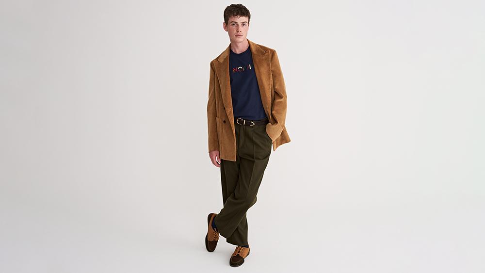 Noah's oversized, double-breasted corduroy sport coat ($748) and single-pleat merino wool trousers ($598).