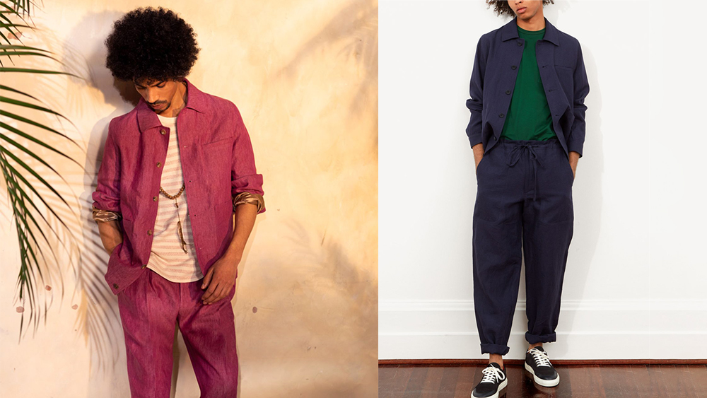 Richard James' breezy linen blouson ($395)can be worn solo or in a full suit.