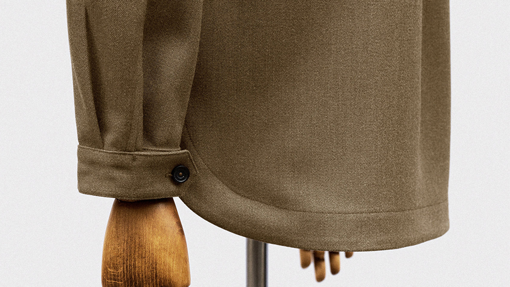 Refined details on S.E.H. Kelly's Field Shirt in wool barathea (£330).