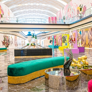 The colorful interior of The Avenue at American Dream.