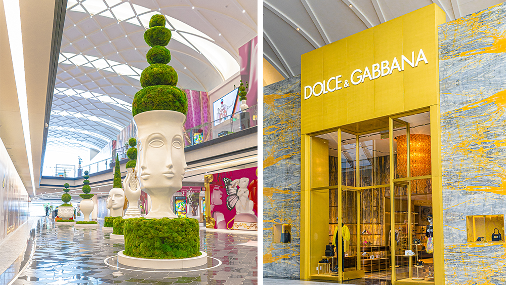 The Jonathan Adler-designed topiaries lining The Avenue; Dolce & Gabbana's storefront.